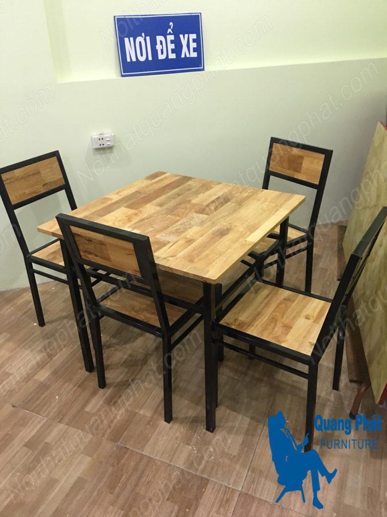 bàn ghế cafe gỗ giá rẻ khung sắt