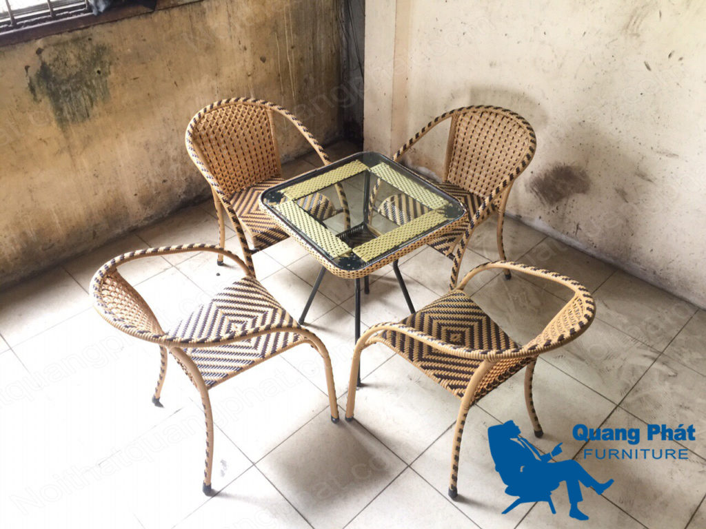 bàn ghế cafe giả mây thanh lý