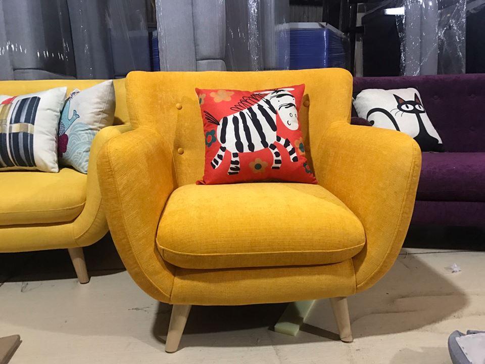ghế sofa nỉ đơn một lớp đệm